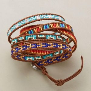 New Sundance Catalog Leather Bead Wrap Bracelet